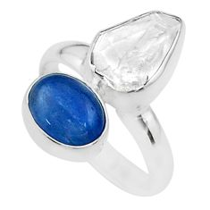 925 silver 10.31cts natural white herkimer diamond kyanite ring size 7 t49699