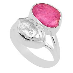 925 silver 10.78cts natural white herkimer diamond ruby raw ring size 8 t49744