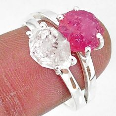 925 silver 7.57cts natural white herkimer diamond ruby raw ring size 8 t6775