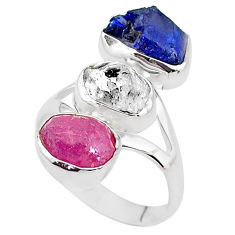 925 silver 14.26cts natural white herkimer diamond ruby raw ring size 9 t4288
