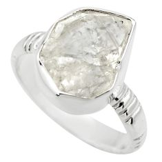 925 silver 8.13cts natural white herkimer diamond solitaire ring size 8.5 r29684