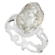 925 silver 7.82cts natural white herkimer diamond solitaire ring size 7.5 r29689