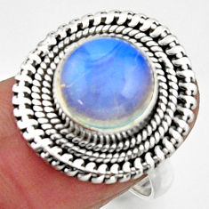 925 silver 5.38cts natural white opalite solitaire ring jewelry size 7.5 r52689