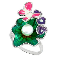 925 silver natural white pearl enamel butterfly ring jewelry size 7 c16775