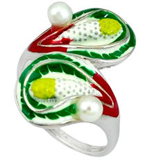 925 sterling silver natural white pearl multi color enamel ring size 8 c16782