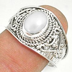 925 silver 2.13cts natural white pearl oval solitaire ring size 8.5 r81445
