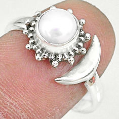 925 silver 1.21cts natural white pearl round adjustable ring size 8 r74630