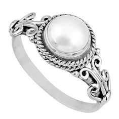 925 silver 2.61cts natural white pearl round shape solitaire ring size 7 r57392