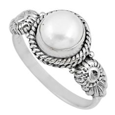 925 silver 2.12cts natural white pearl round shape solitaire ring size 8 r57370