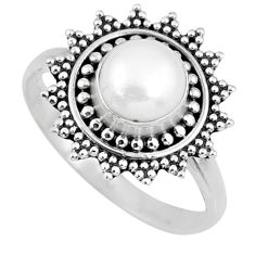 925 silver 2.71cts natural white pearl round solitaire ring size 8.5 r57452