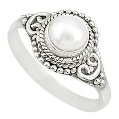 925 silver 1.21cts natural white pearl round solitaire ring size 8.5 r76729