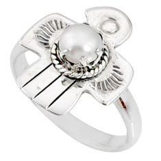 925 silver 1.00cts natural white pearl round solitaire ring size 9 r67452