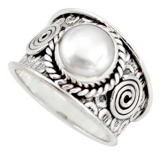 925 silver 5.34cts natural white pearl solitaire ring jewelry size 8 d45936
