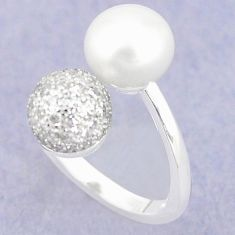 925 silver natural white pearl topaz adjustable ring jewelry size 6 c25438