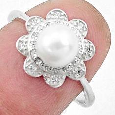 925 silver 2.70cts natural white pearl topaz round solitaire ing size 7 c25358