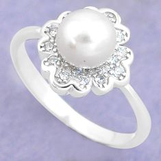 925 silver 3.23cts natural white pearl topaz round solitaire ring size 6 c25294