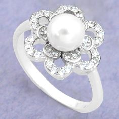 925 silver 2.72cts natural white pearl topaz round solitaire ring size 6 c25298