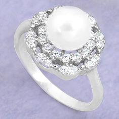 925 silver 3.59cts natural white pearl topaz round solitaire ring size 6 c25390