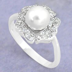 925 silver 2.37cts natural white pearl topaz round solitaire ring size 7 c25297