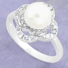 925 silver 2.95cts natural white pearl topaz round solitaire ring size 7 c25324