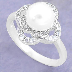925 silver 3.51cts natural white pearl topaz round solitaire ring size 8 c25328
