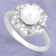 925 silver 3.40cts natural white pearl topaz solitaire ring size 7.5 c25291