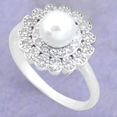 925 silver 2.93cts natural white pearl topaz solitaire ring size 6.5 c25292