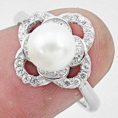 925 silver 3.59cts natural white pearl topaz solitaire ring size 7 c25008