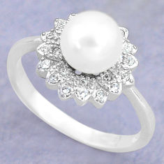 925 silver 3.42cts natural white pearl topaz solitaire ring size 7 c25288