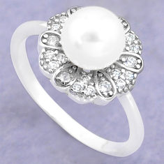 925 silver 3.32cts natural white pearl topaz solitaire ring size 7 c25340