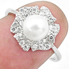 925 silver 2.99cts natural white pearl topaz solitaire ring size 7 c25344