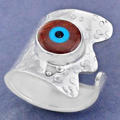 925 silver 5.36cts natural white shiva eye adjustable ring jewelry size 7 r63411
