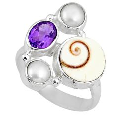 925 silver 7.41cts natural white shiva eye amethyst pearl ring size 6.5 r58415