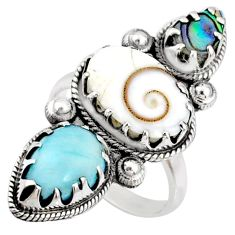 925 silver 8.65cts natural white shiva eye larimar ring jewelry size 7.5 r67352