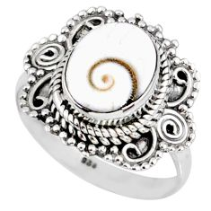 925 silver 4.08cts natural white shiva eye oval solitaire ring size 7.5 r58944