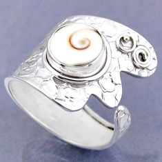 925 silver 4.83cts natural white shiva eye round adjustable ring size 9 r54758