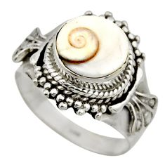 925 silver 4.93cts natural white shiva eye round solitaire ring size 6.5 r52488