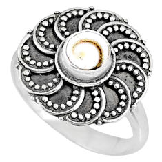 925 silver 0.86cts natural white shiva eye round solitaire ring size 7.5 r57891