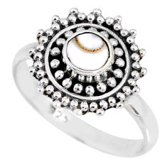 925 silver 0.91cts natural white shiva eye round solitaire ring size 7.5 r58169