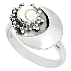 925 silver 1.17cts natural white shiva eye round solitaire ring size 7.5 r67368