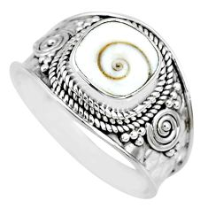 925 silver 3.20cts natural white shiva eye solitaire handmade ring size 9 r74713