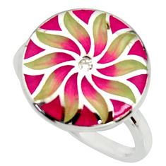 925 silver 0.05cts natural white topaz enamel flower ring jewelry size 7.5 c9836
