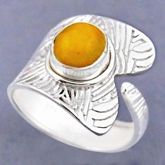 925 silver 3.01cts natural yellow amber bone adjustable ring size 8.5 r54815