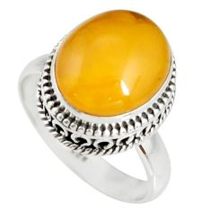 925 silver 5.93cts natural yellow amber bone oval solitaire ring size 8.5 r19244