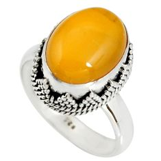 925 silver 5.23cts natural yellow amber bone oval solitaire ring size 8 r19258