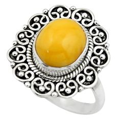 925 silver 5.10cts natural yellow amber bone oval solitaire ring size 8 r52585