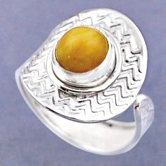 925 silver 3.51cts natural yellow amber bone round adjustable ring size 8 r54789