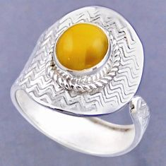 925 silver 3.69cts natural yellow amber bone round adjustable ring size 9 r54796