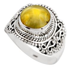 925 silver 4.91cts natural yellow amber bone round solitaire ring size 8 r53310