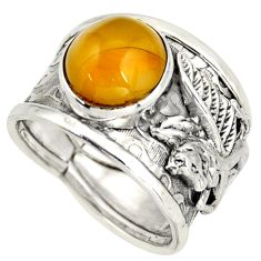 925 silver 5.01cts natural yellow amber bone solitaire ring size 7.5 d45952